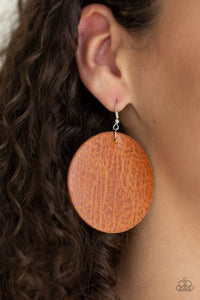 Paparazzi Trend Friends - Brown - Textured Leather - Earrings - Lauren's Bling $5.00 Paparazzi Jewelry Boutique