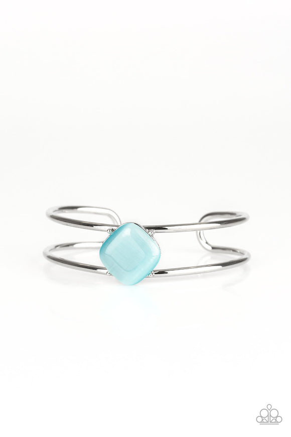 Paparazzi Turn Up The Glow - Blue Moonstone - Silver Cuff Bracelet