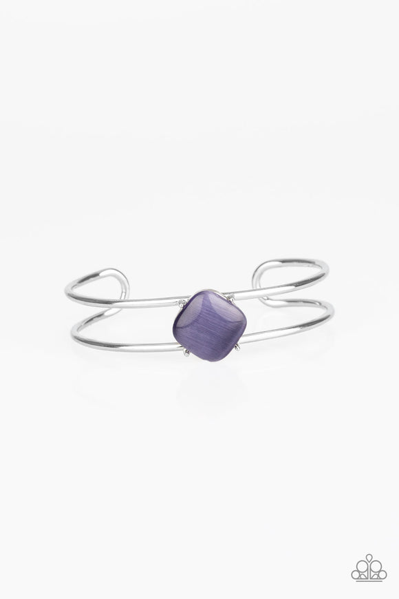 Paparazzi Turn Up The Glow - Purple Moonstone - Silver Cuff Bracelet
