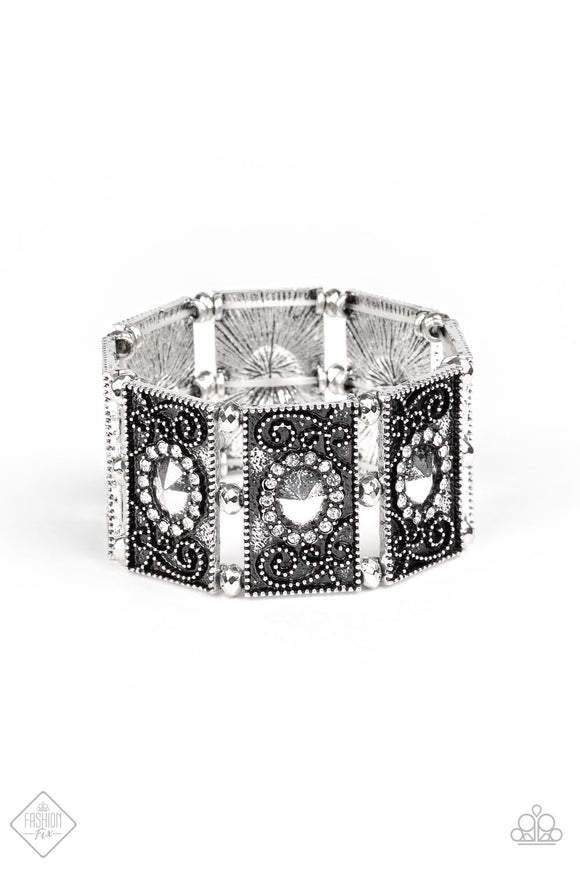 Paparazzi Tycoon Texture - White Rhinestones - Filigree Silver - Stretchy Band Bracelet - Fashion Fix Exclusive October 2019 - Lauren's Bling $5.00 Paparazzi Jewelry Boutique