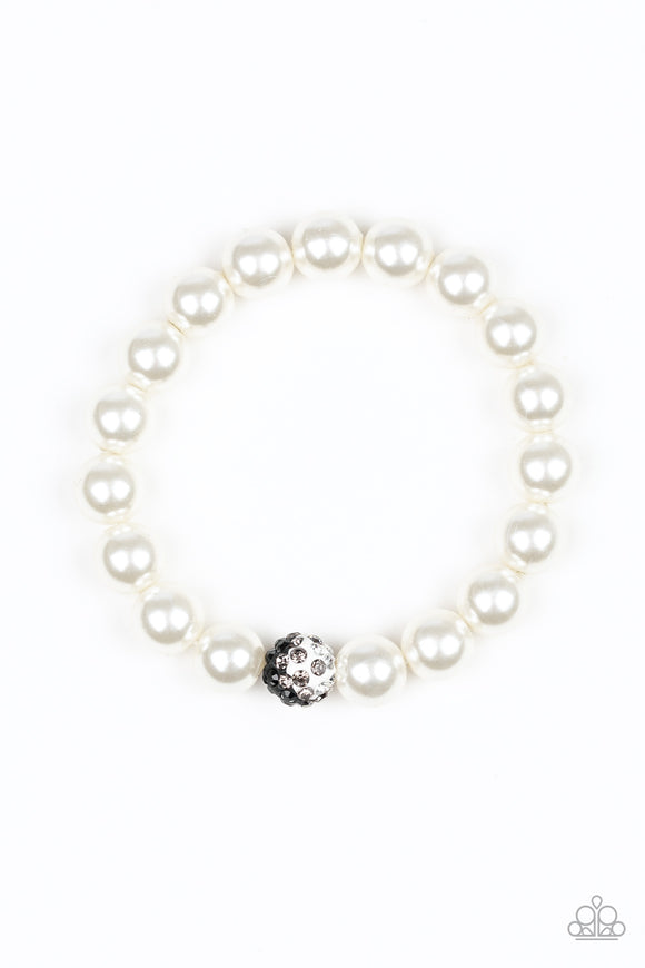 Paparazzi Voila! - White Pearly Beads - White, Black and Smoky Bead Rhinestones - Stretchy Band Bracelet - Lauren's Bling $5.00 Paparazzi Jewelry Boutique
