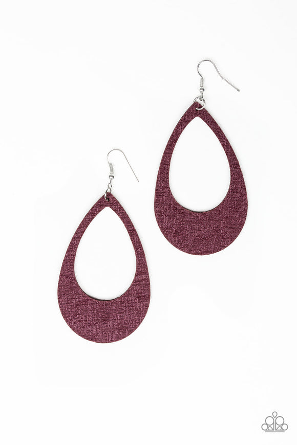 Paparazzi What a Natural - Purple - Brushed LEATHER Teardrop - Earrings - Lauren's Bling $5.00 Paparazzi Jewelry Boutique