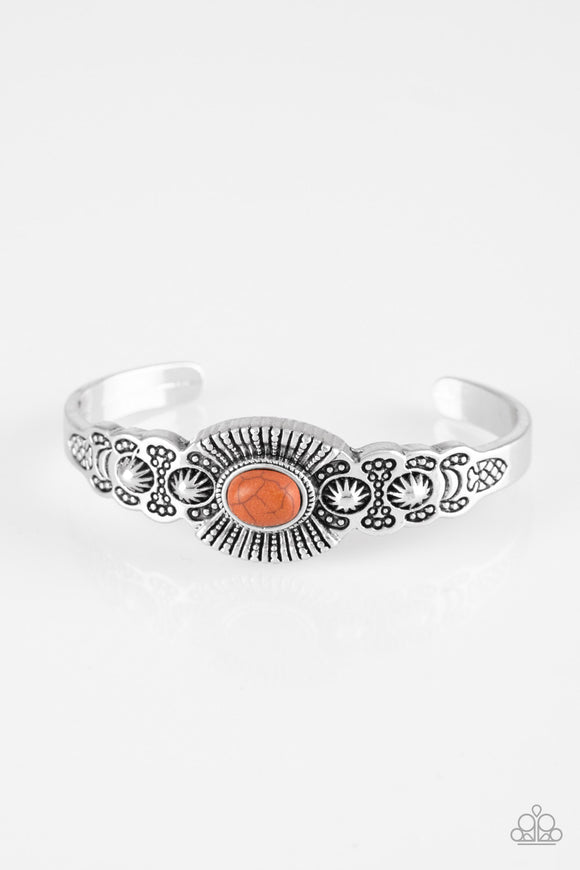 Paparazzi Wide Open Mesas - Orange Stone - Silver Cuff Bracelet