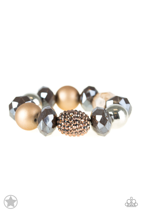 Paparazzi All Cozied Up - Brown / Copper / Silver Beads - Blockbuster Exclusive Bracelet