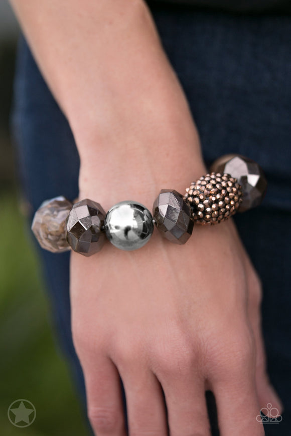 Paparazzi All Cozied Up - Brown / Copper / Silver Beads - Blockbuster Exclusive Bracelet - Lauren's Bling $5.00 Paparazzi Jewelry Boutique
