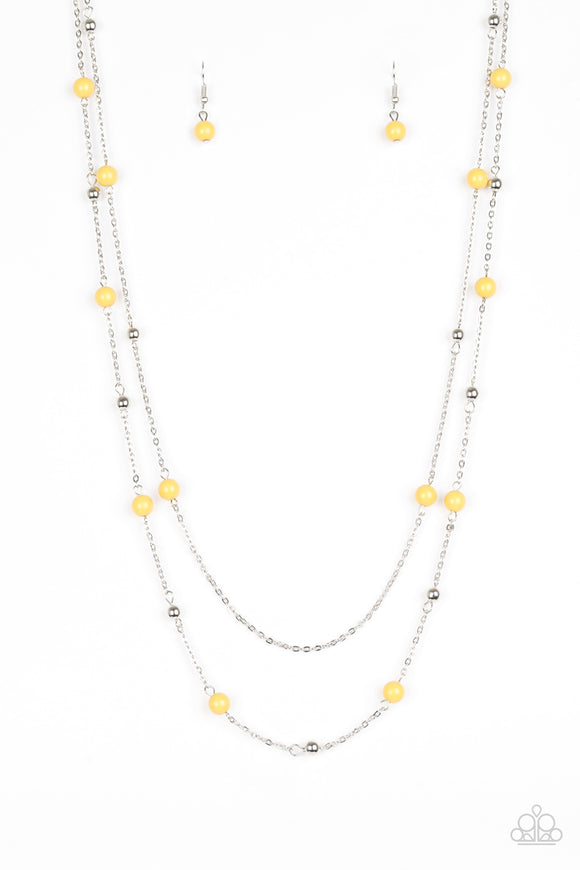 Paparazzi Beach Party Pageant - Yellow and Silver Beads - Necklace and matching Earrings - Lauren's Bling $5.00 Paparazzi Jewelry Boutique