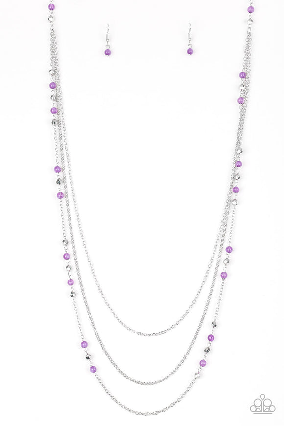 Paparazzi Colorful Cadence - Purple - Silver Chains - Necklace and matching Earrings - Lauren's Bling $5.00 Paparazzi Jewelry Boutique