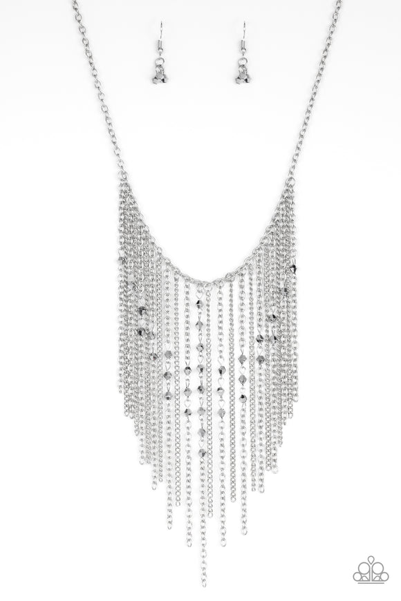 Paparazzi First Class Fringe - Silver Fringe Necklace and matching Earrings - Life of the Party Exclusive May 2019