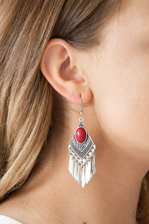 Paparazzi Mostly Monte-ZUMBA - Red - Diamond Shaped - Tribal Inspired - Ornate Earrings - Lauren's Bling $5.00 Paparazzi Jewelry Boutique