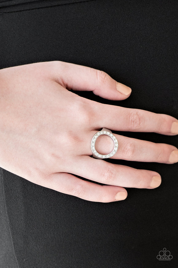 One-GLAM Band - White - Ring - Lauren's Bling $5.00 Paparazzi Jewelry Boutique