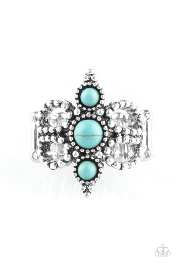 Paparazzi Outback Oasis - Blue - Turquoise Stones - Silver Studded Ring - Lauren's Bling $5.00 Paparazzi Jewelry Boutique