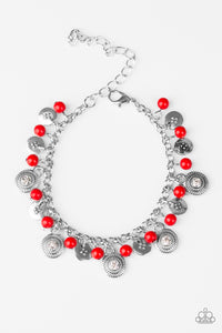Paparazzi Pure LUXE - Red Beads - Silver Bracelet - Lauren's Bling $5.00 Paparazzi Jewelry Boutique