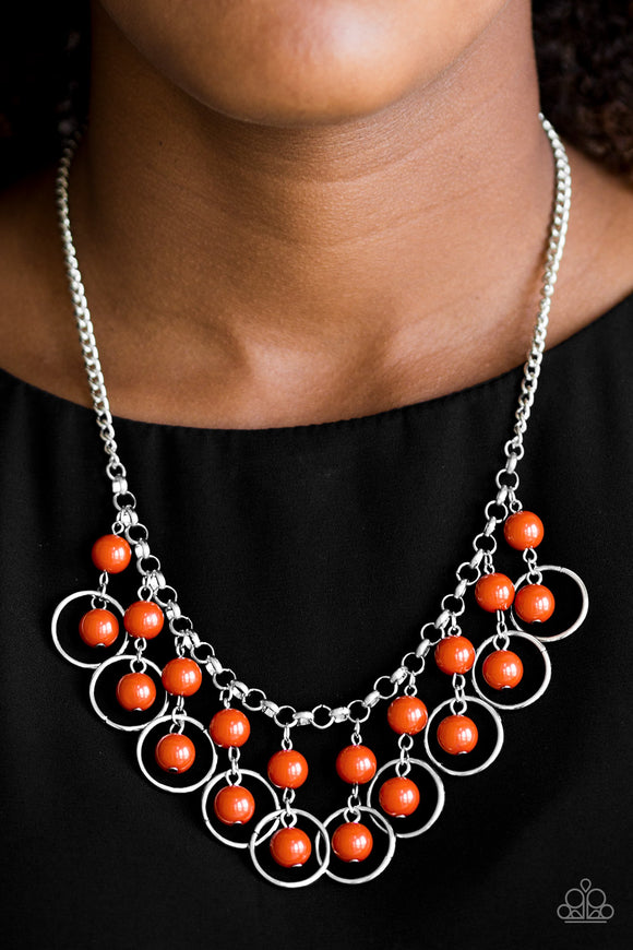 Really Rococo - Orange Necklace - Lauren's Bling $5.00 Paparazzi Jewelry Boutique