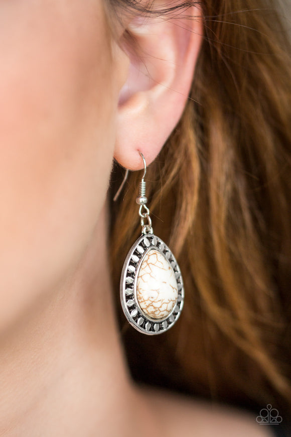 Paparazzi Sahara Serenity - White - Stone Teardrop Silver Earrings - Lauren's Bling $5.00 Paparazzi Jewelry Boutique