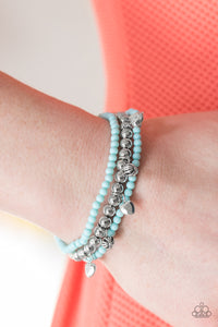 Paparazzi Springtime Sweethearts - Blue - Silver Beads - Set of 3 Stretchy Bracelets - Lauren's Bling $5.00 Paparazzi Jewelry Boutique