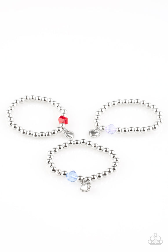 Paparazzi Starlet Shimmer Girls Bracelets - 10 - Silver Heart Charm - Red, Blue, White & Pink