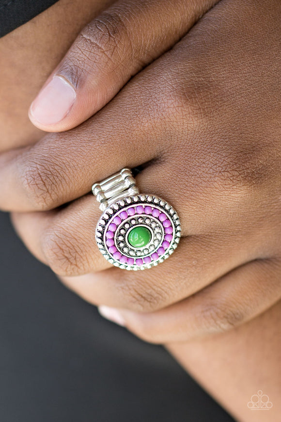 Paparazzi Tide Pools - Purple Beads - Green Bead - Silver Ring - Lauren's Bling $5.00 Paparazzi Jewelry Boutique
