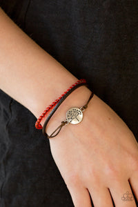 Paparazzi Treetop Treasure - Red - Leather - Tree of Life - Sliding Knot Bracelet - Lauren's Bling $5.00 Paparazzi Jewelry Boutique