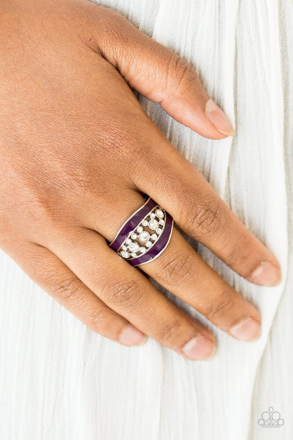 Paparazzi Trending Treasure - Purple - White Rhinestones - Ring - Lauren's Bling $5.00 Paparazzi Jewelry Boutique