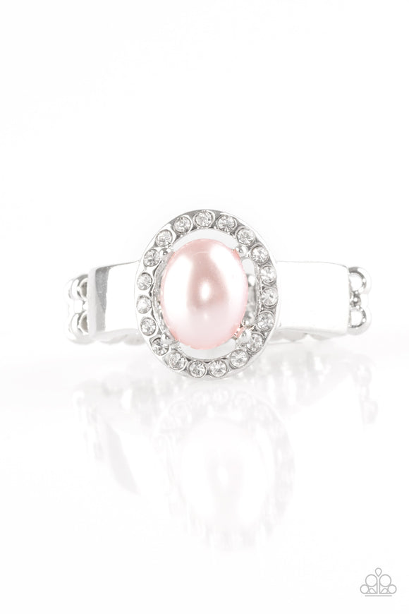Paparazzi Upper Uptown - Pink Bead - White Rhinestone - Silver Ring - Lauren's Bling $5.00 Paparazzi Jewelry Boutique