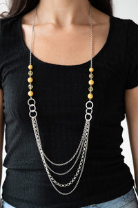 Paparazzi Vividly Vivid - Yellow - Necklace & Earrings - Lauren's Bling $5.00 Paparazzi Jewelry Boutique