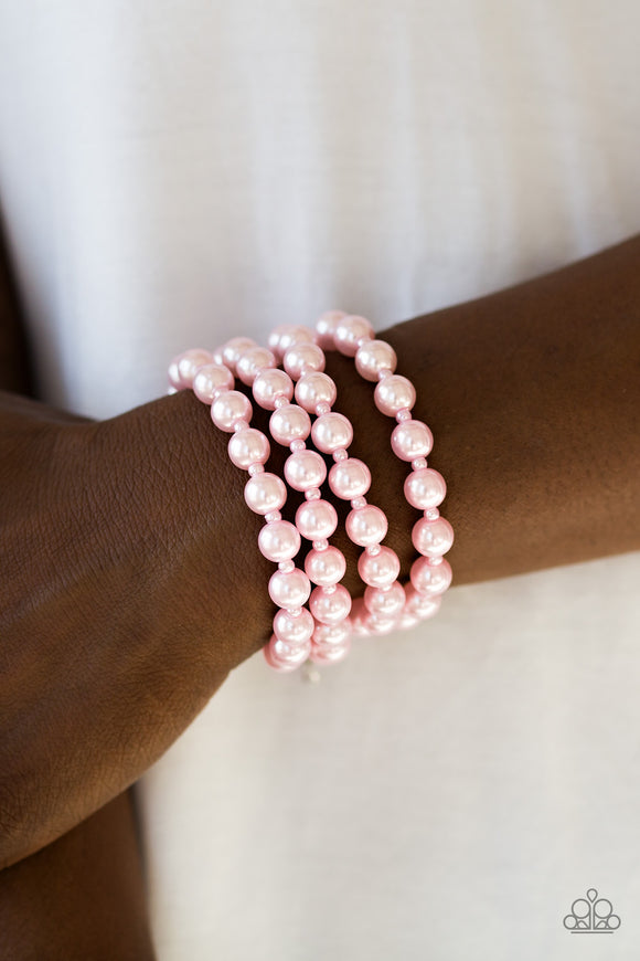 Paparazzi Work The BALLROOM - Pink - Classic Pearls - Adjustable Clasp - Bracelet - Lauren's Bling $5.00 Paparazzi Jewelry Boutique