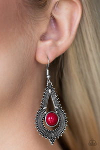 Paparazzi Zoomin Zumba - Red Beaded Center - Studded Rope Textures - Earrings - Lauren's Bling $5.00 Paparazzi Jewelry Boutique