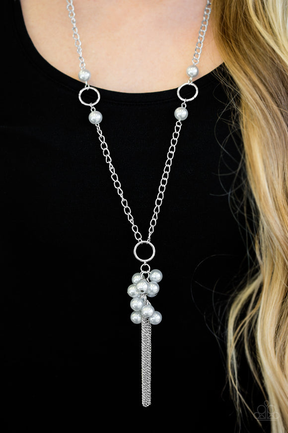 Paparazzi Hit The Runway - Silver Pearl Beads - Necklace and matching Earrings - Lauren's Bling $5.00 Paparazzi Jewelry Boutique