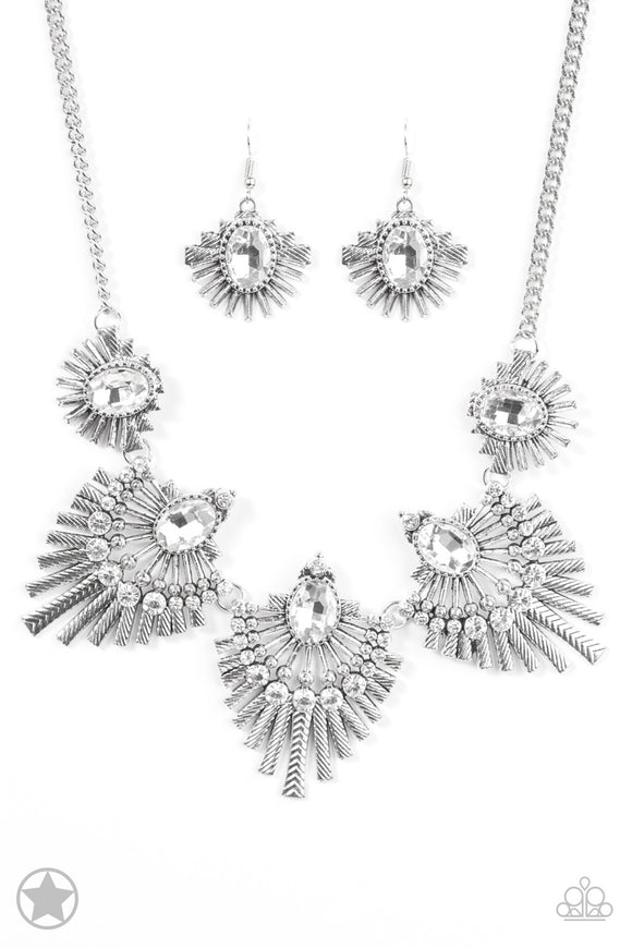 Paparazzi Miss YOU-niverse - Silver Gem - Rhinestones - Blockbuster Necklace and matching Earrings