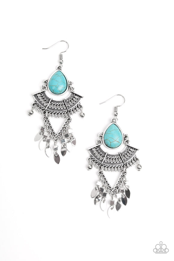 Paparazzi Vintage Vagabond - Blue - Turquoise Stone - Silver Earrings - Life of the Party Exclusive - February 2020