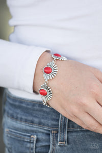 Paparazzi Desert Marvel - Red Beads - Silver Frames - Bracelet - Lauren's Bling $5.00 Paparazzi Jewelry Boutique