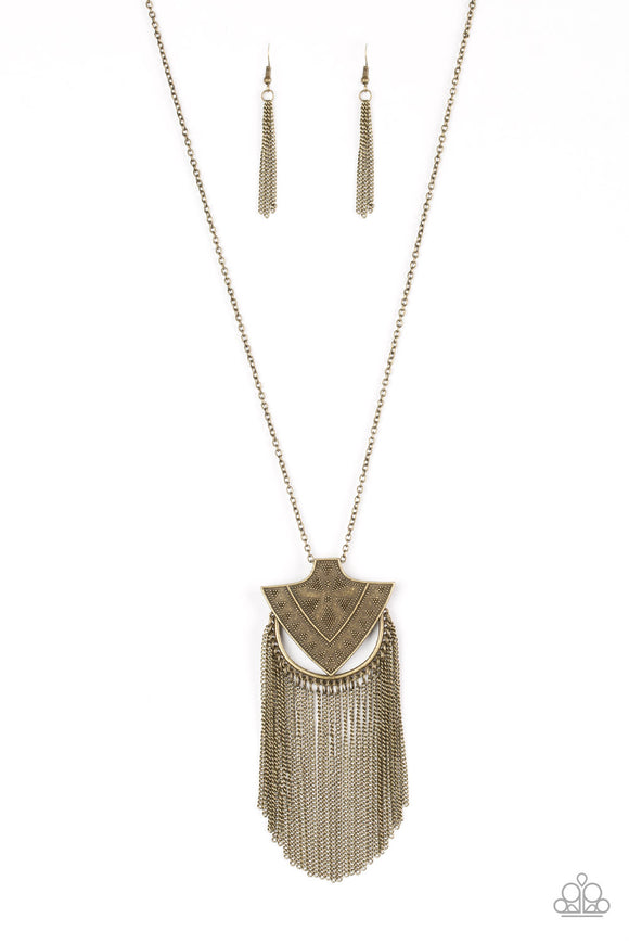 Paparazzi Hunt Or Be Hunted - Brass - Arrowhead Pendant - Necklace and matching Earrings - Lauren's Bling $5.00 Paparazzi Jewelry Boutique