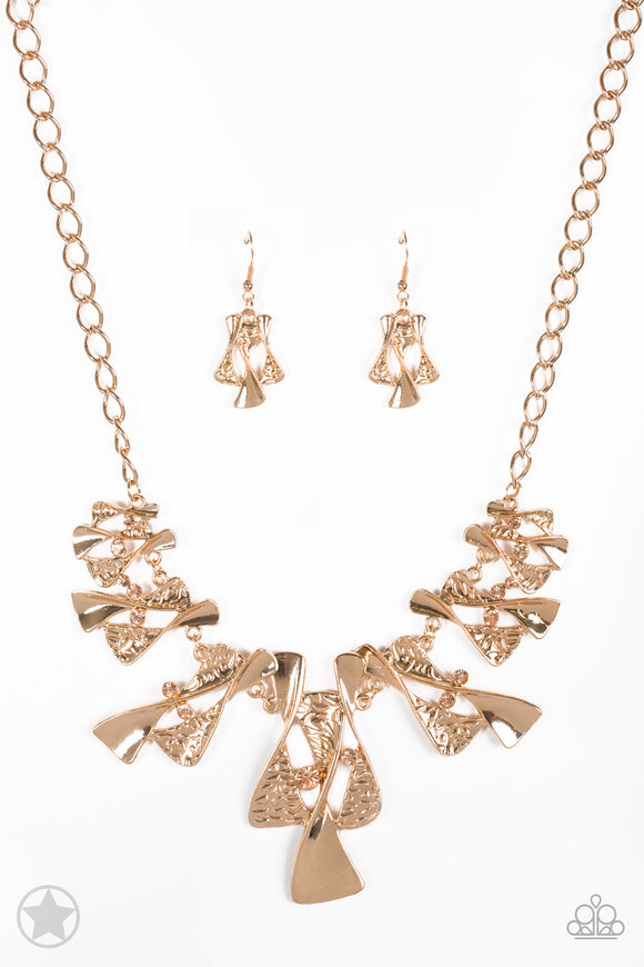 Paparazzi The Sands of Time - Gold - Blockbuster Necklace and matching Earrings