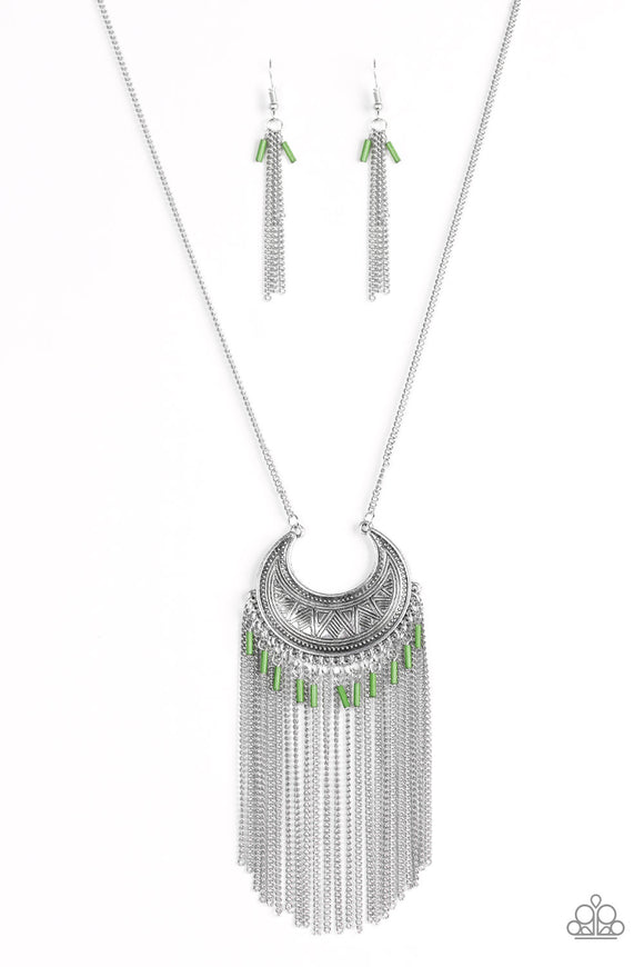 Paparazzi Desert Coyote - Green Beads - Silver Chain and Fringe Necklace and matching Earrings