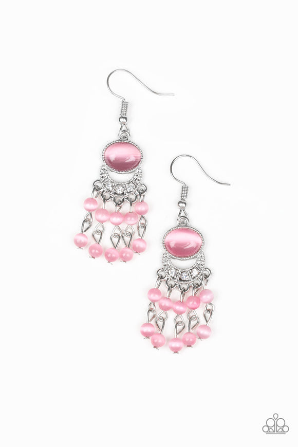 Paparazzi A Spring State Of Mind - Pink Moonstone - White Rhinestones - Earrings - Lauren's Bling $5.00 Paparazzi Jewelry Boutique