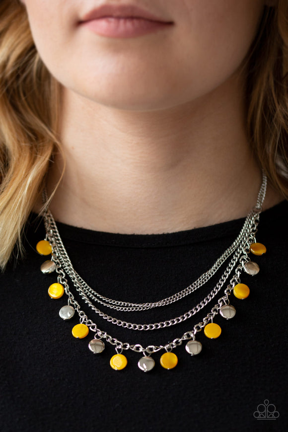 Paparazzi Beach Flavor - Yellow - Shell Like Beads - Silver Chains - Necklace & Earrings