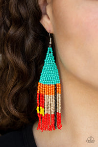 Paparazzi Beaded Boho - Blue - Orange, Brown, Black, Yellow and Red Seed Beads - Earrings - Lauren's Bling $5.00 Paparazzi Jewelry Boutique