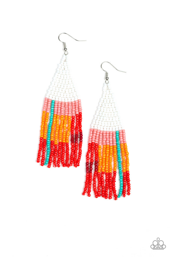 Paparazzi Beaded Boho - White - Pink, Blue, Orange and Red Seed Beads - Earrings