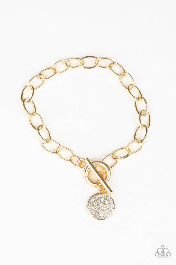 Paparazzi BLING In The New Year - Gold - White Rhinestone Disc - Toggle Bracelet - Lauren's Bling $5.00 Paparazzi Jewelry Boutique