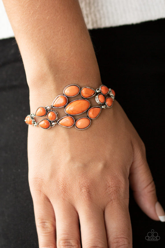 Paparazzi Blooming Prairies - Orange Teardrop Stones - Studded Silver Frame - Bracelet - Lauren's Bling $5.00 Paparazzi Jewelry Boutique