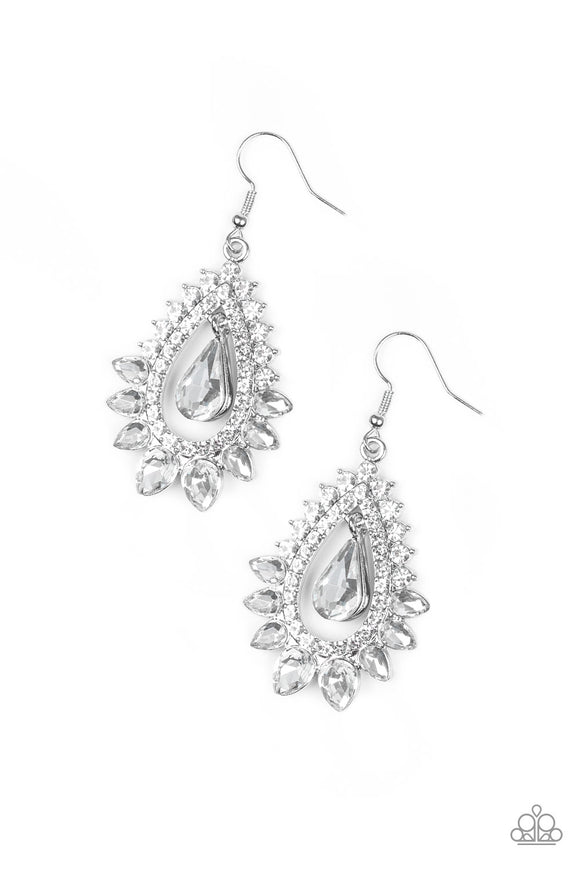 Paparazzi Boss Brilliance - White - Gem and Rhinestones - Silver Teardrop - Earrings - Lauren's Bling $5.00 Paparazzi Jewelry Boutique