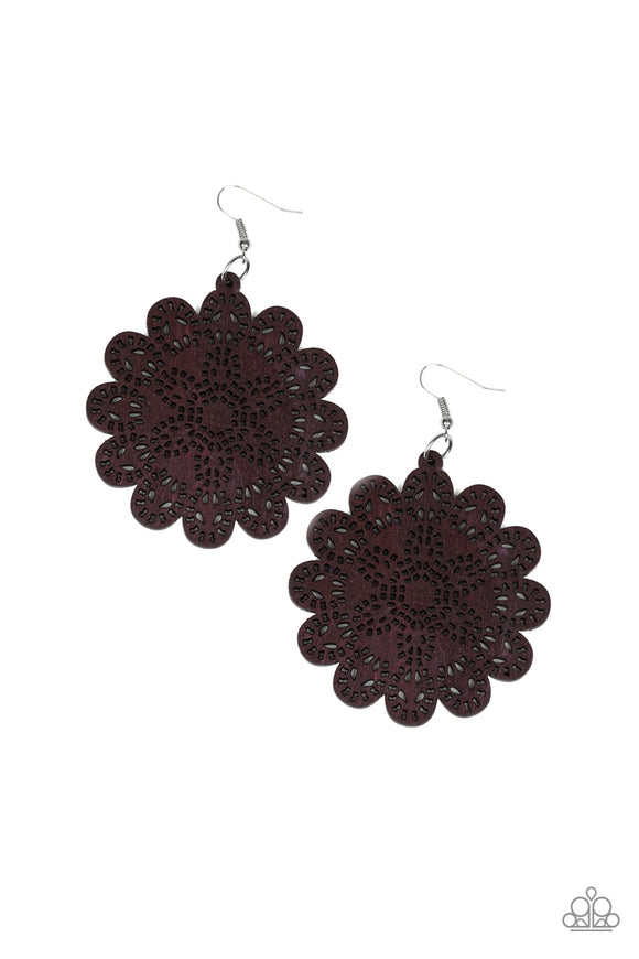 Paparazzi Coachella Cabaret - Brown - Floral Whimsical - Wooden Earrings - Lauren's Bling $5.00 Paparazzi Jewelry Boutique
