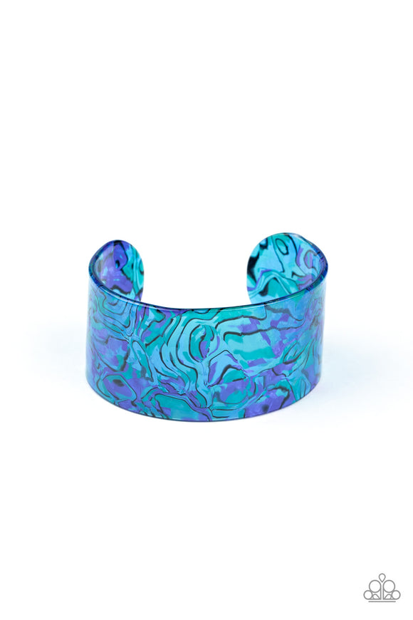 Paparazzi Cosmic Couture - Blue - Watercolor Thick Acrylic Cuff Bracelet - Lauren's Bling $5.00 Paparazzi Jewelry Boutique