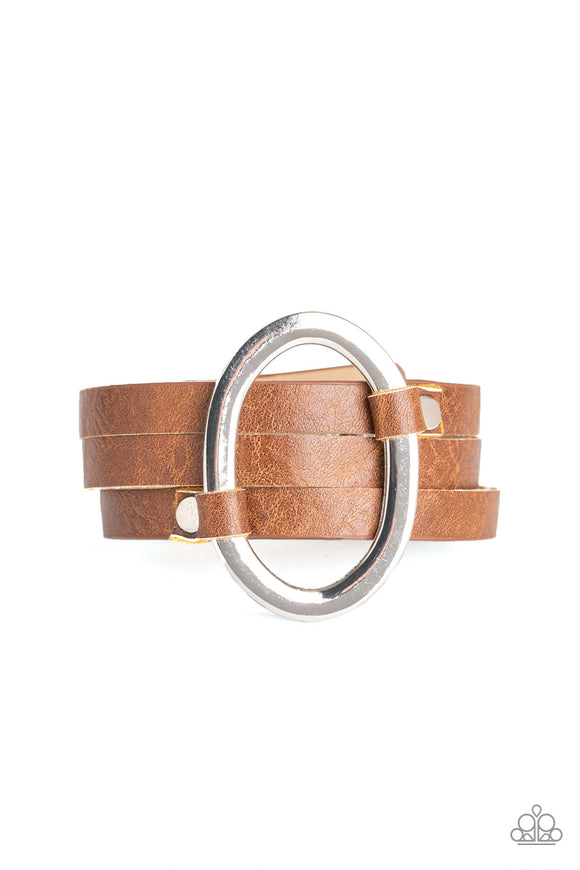 Paparazzi Cowgirl Cavalier - Brown Leather Band - Oval Silver Ring - Adjustable Snap Bracelet