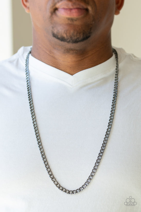Paparazzi Delta - Black - Thick Gunmetal Chain - Necklace - Men's Collection