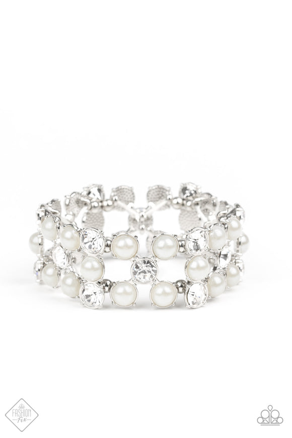 Paparazzi Diamonds and Debutantes - White - Pearls & Rhinestones - GORGEOUS Stretchy Bracelet - Fashion Fix Exclusive October 2019 - Lauren's Bling $5.00 Paparazzi Jewelry Boutique