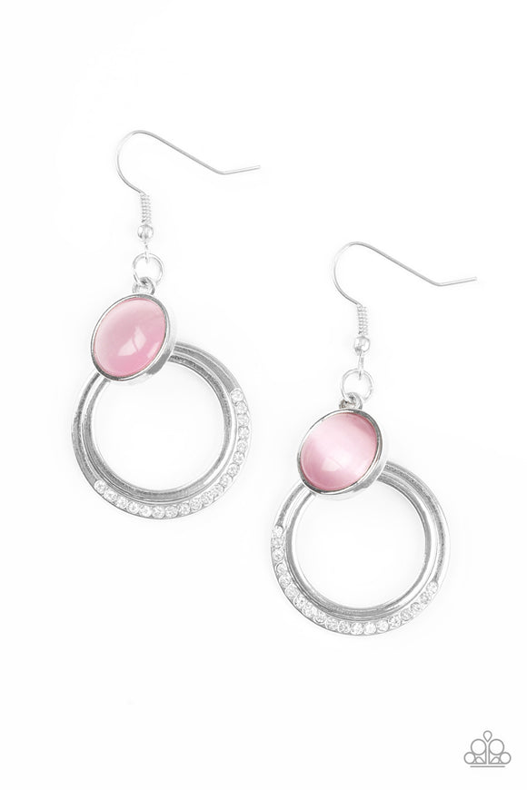 Paparazzi Dreamily Dreamland - Pink Moonstone - White Rhinestones - Silver Hoop Earrings