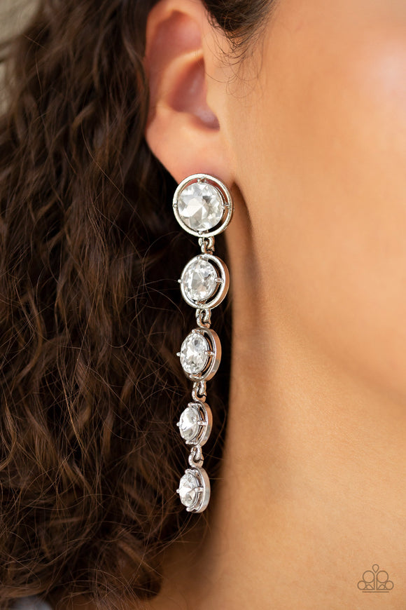 Paparazzi Drippin In Starlight - White - Faceted Gems - Silver Post Earrings