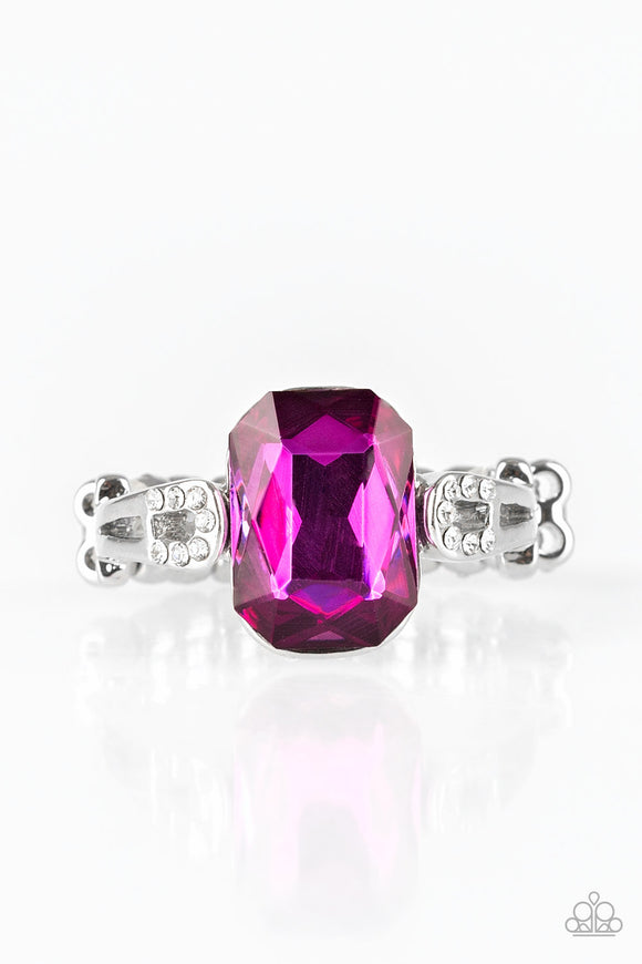 Paparazzi Feast Your Eyes - Pink Gem - Emerald Cut - Dainty Silver Band Ring - Lauren's Bling $5.00 Paparazzi Jewelry Boutique