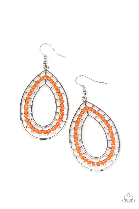Paparazzi Fruity Fiesta - Orange - AmberGlow Beads - Earrings